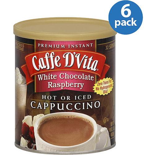 Caffe D'Vita White Chocolate Raspberry Cappuccino Mix, 16 oz, (Pack of 6)