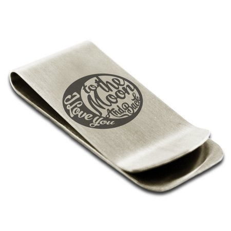 Retro Clip (Stainless Steel Retro I Love You to the Moon and Back Engraved Money Clip Credit Card Holder )