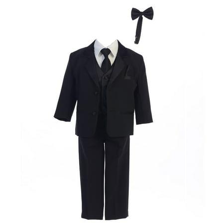 Tuxedo Dinner Jacket (Baby Boys Black Dinner Jacket Vest Bow Tie Zipper Tie Shirt Pant Tuxedo )