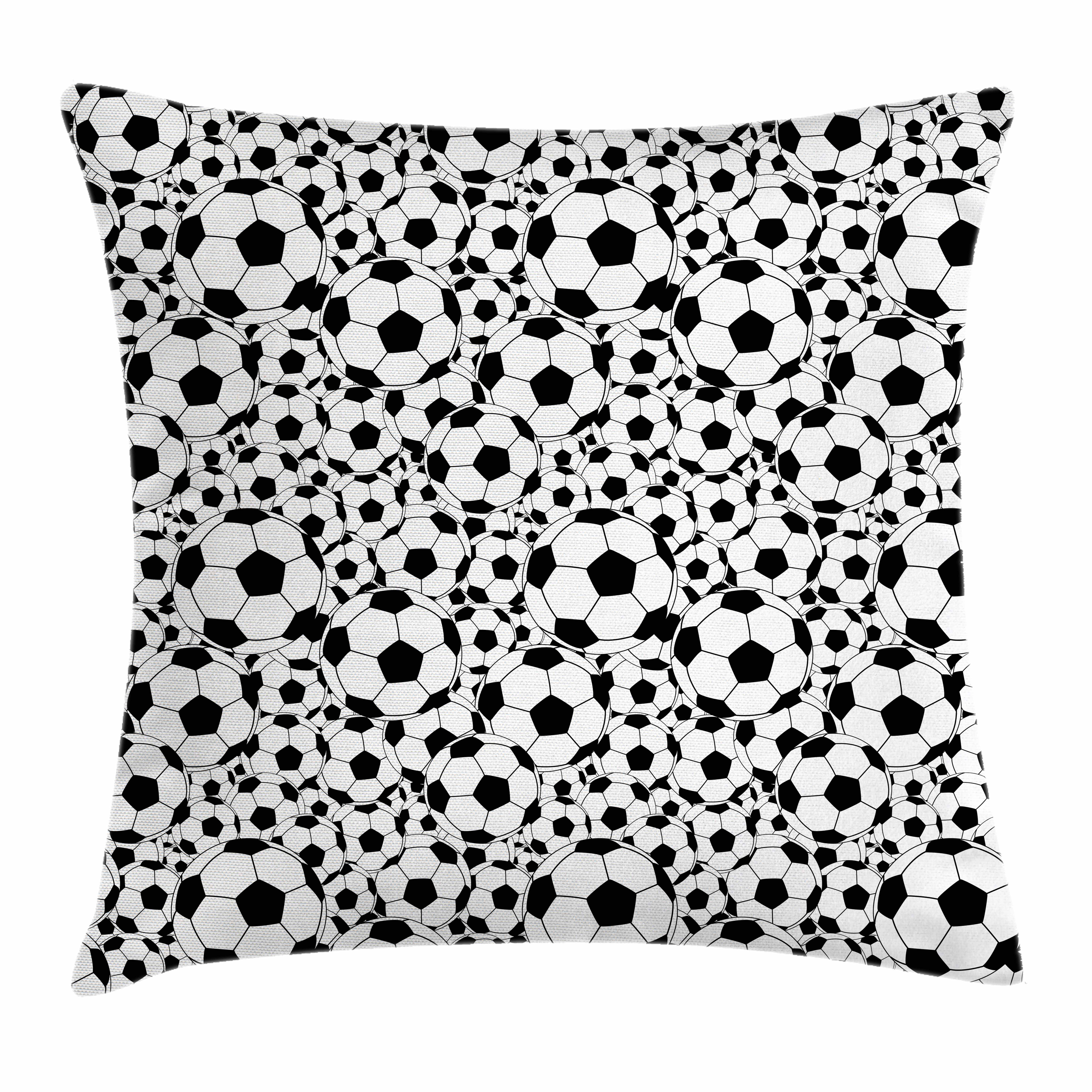 Soccer Throw Pillow Cushion Cover, Monochrome Design Pattern of Classical Football Balls Kids Boys Cartoon Pattern, Decorative Square Accent Pillow Case, 16 X 16 Inches, Black White, by Ambesonne