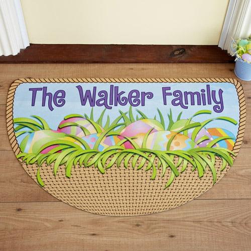 Personalized Easter Half Round Doormat, Easter Basket