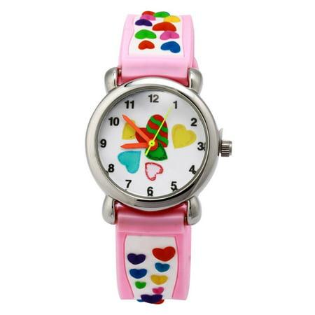 3D Cute Cartoon Quartz Watch Wristwatches with Silicone band Time Teacher for Little Girls Boy Kids Children Gift (Little Hearts Pink), 3D.., By