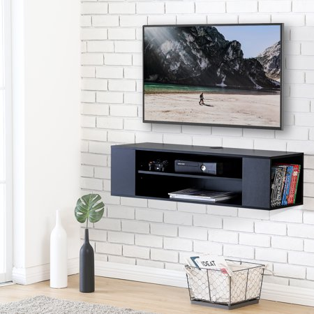 FITUEYES Wall Mounted Console Audio/Video Tv Stand for LG /Apple/ vizio/ Sumsung/Sony TV - Library Console