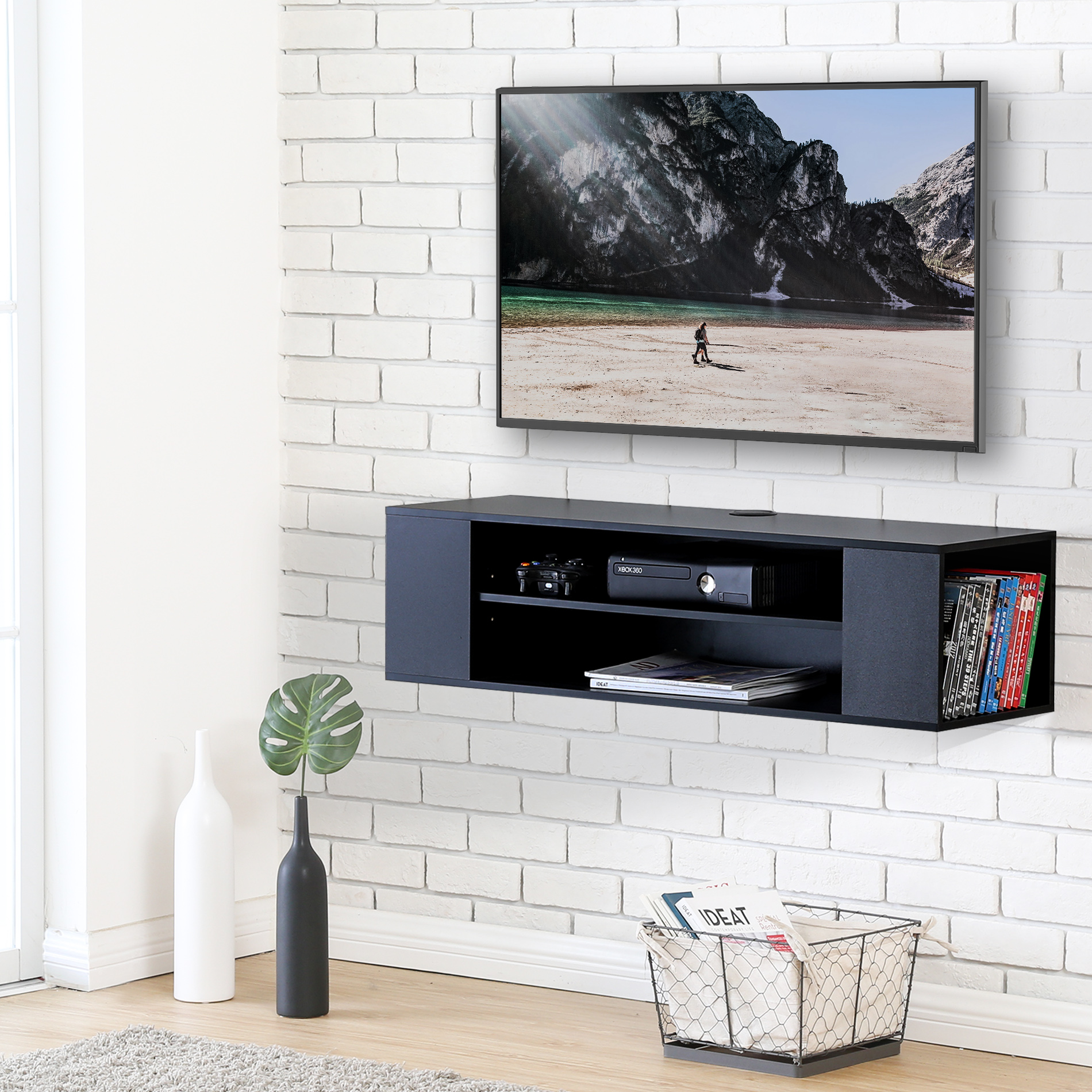 FITUEYES Wall Mounted Console Audio/Video Tv Stand for LG /Apple/ vizio/ Sumsung/Sony TV DS210002WB