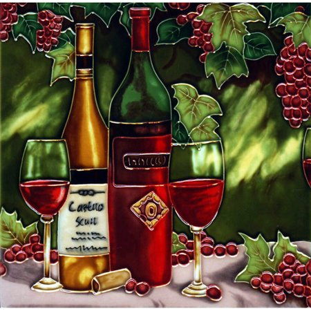 Continental Art Center Wine Bottle with Red Grape Tile Wall Decor