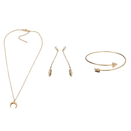 Women's Fashion Necklace Earrings Bracelet Three-Piece Charm Necklace Jewelry For Gift Hot Sale