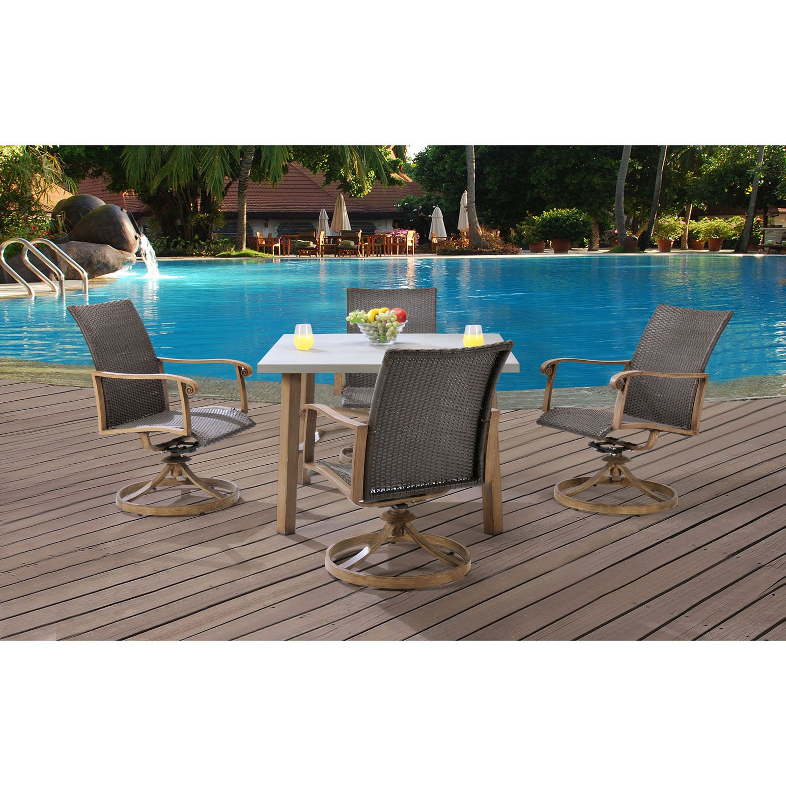 Hanover HERDN5PC-SQR Hermosa 5-Piece Aluminum Framed Outdoor Dining Set with Umb