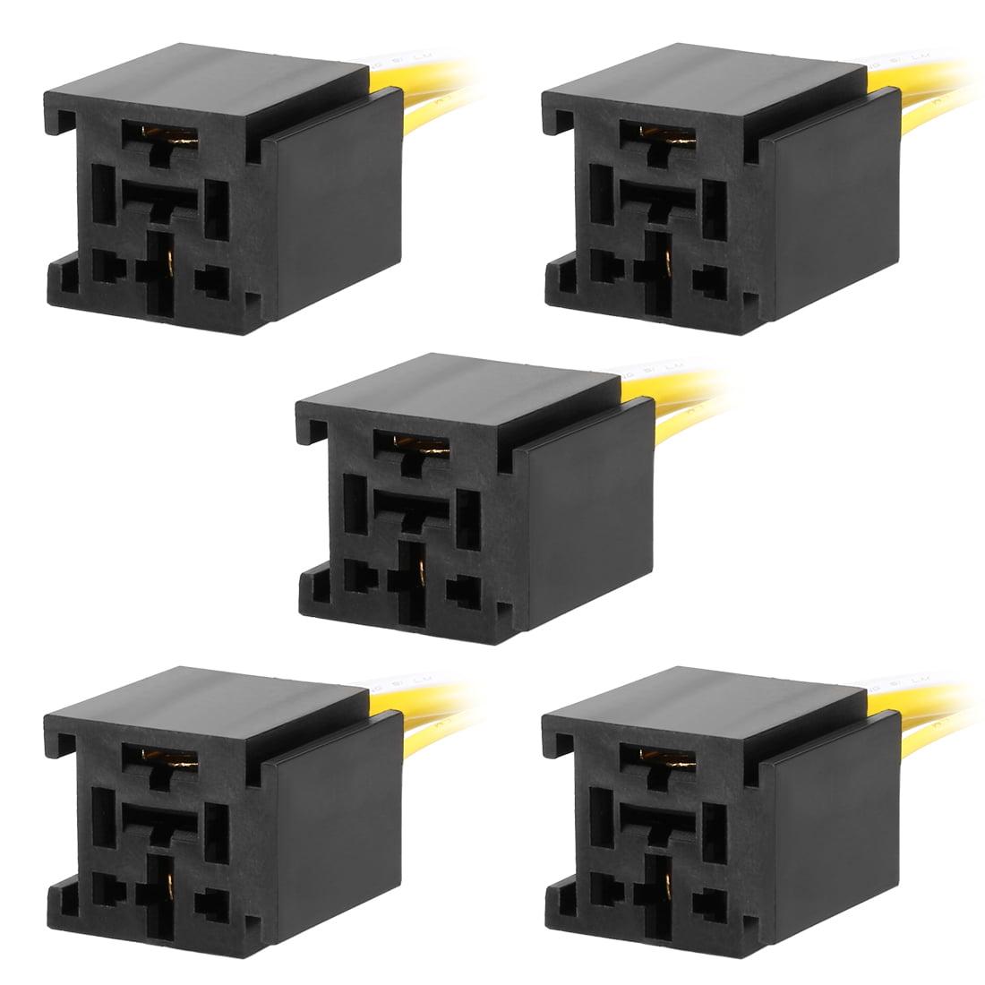Unique Bargains 5 pcs DC 12V/24V 80A 4 Terminals Relay Socket Harness Connector for Auto Car - image 5 de 5