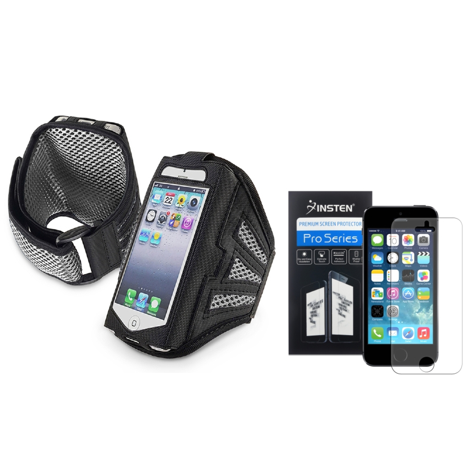 Insten Black/Silver Sports Running Armband Gym Case for iPhone 5 5G 5s + Anti-Glare Screen FIlm
