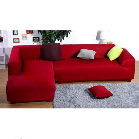 Ktaxon L Shape Stretch Elastic Fabric Sofa Cover with 2+2 Seats ...