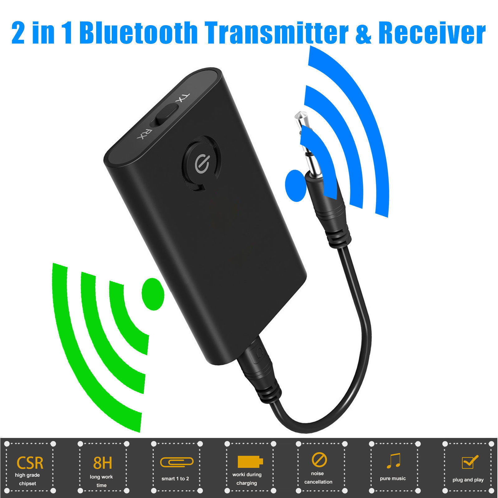 EEEKit Bluetooth Receiver and Transmitter, 2 in 1 Wireless Bluetooth Transmitter + Receiver A2DP Stereo Audio Music Adapter