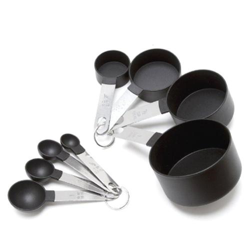 Cook's Corner 8-piece Black Stainless Steel Measuring Cup and Spoon Set