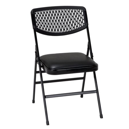 Back Resin Chair (COSCO Commercial Vinyl Padded Seat Folding Chair with Resin Mesh Back, Black, 4-pack )