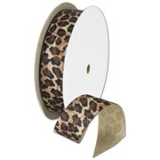 Deluxe Small Business Sales 280-302178 0. 88 inch x 10 yds.  Grosgrain Leopard Ribbon, Brown & Black on Ivory