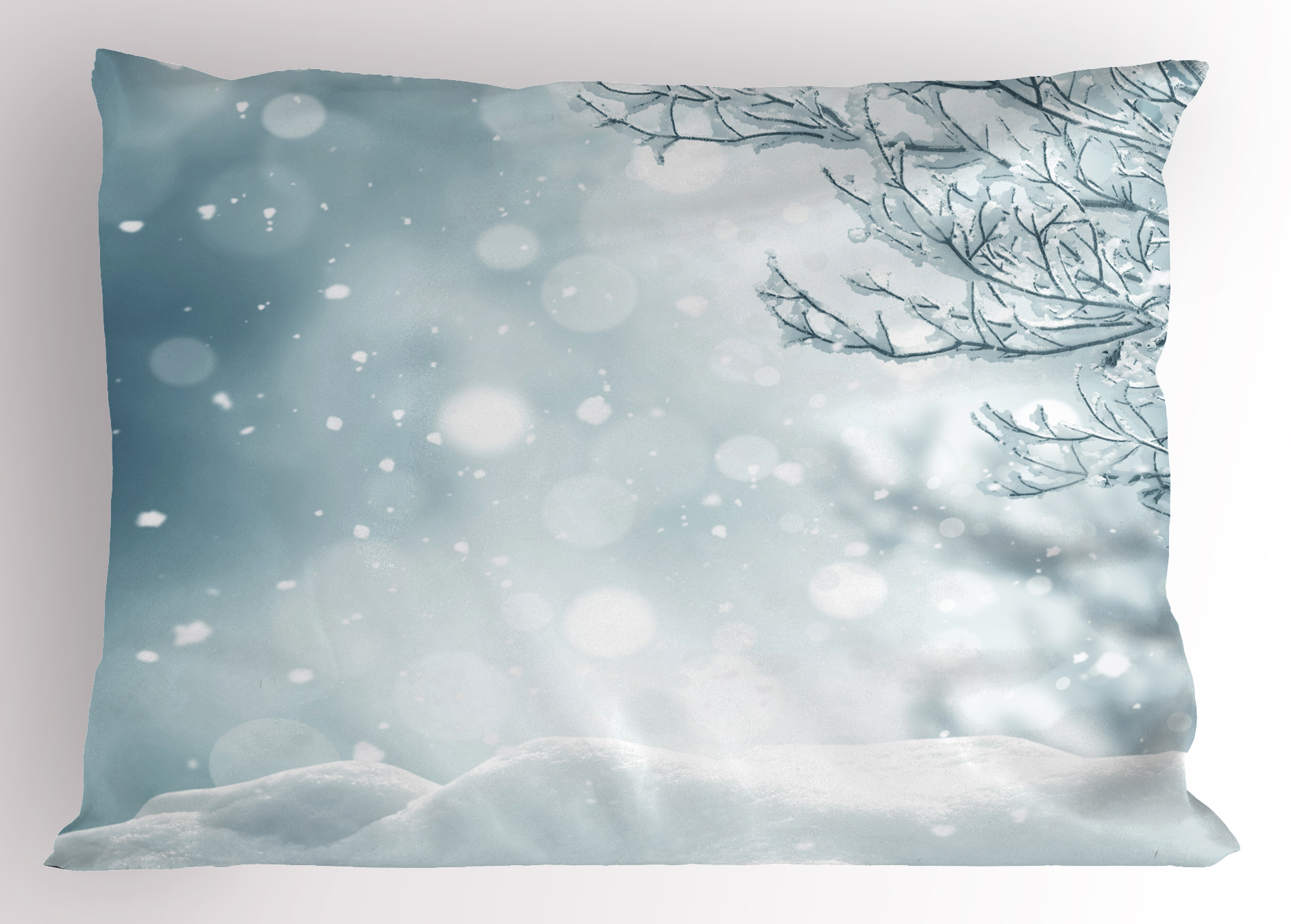 Winter Pillow Sham Christmas Image Snow And Frosted Tree