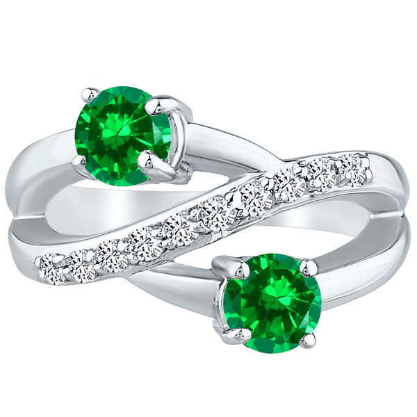 Round Twist Ring cr Emerald & Diamond Band Wedding .10k White Gold 1.50 tcw
