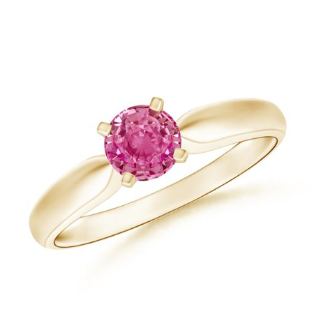 September Birthstone Ring - Solitaire Round Pink Sapphire Tapered Shank Ring in 14K Yellow Gold (5mm Pink Sapphire) - SR0245PS-YG-AAA-5-7.5