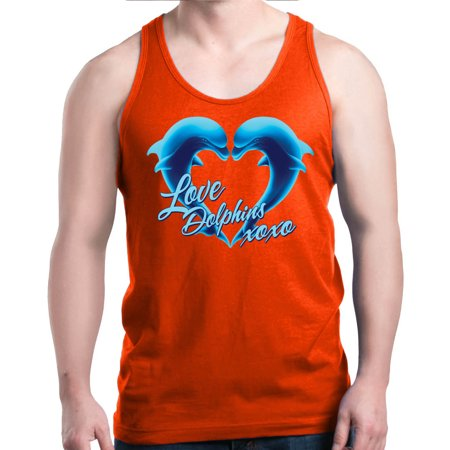 Shop4Ever Men's Love Dolphins XOXO Blue Dolphin Heart Graphic Tank Top