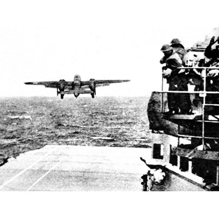 B-25 Mitchell Bomber Taking Off from 'Hornet'; Second World War Print Wall Art