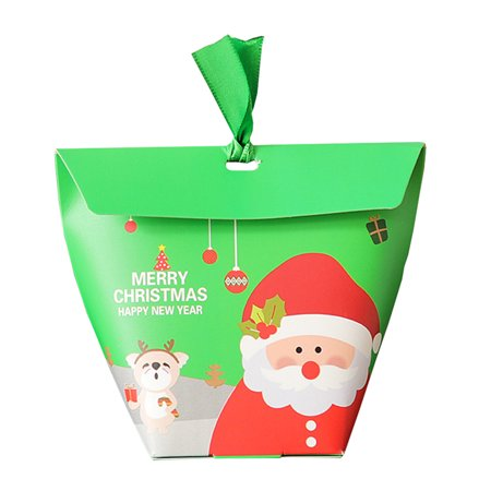 10 Pcs Christmas Gift Boxes Candy Box Party Favor Christmas Eve Box Xmas Party Bags Gift ()