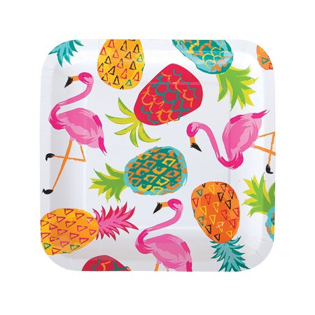 Fun Express - Pineapple Square Dinner Plate for Party - Party Supplies - Print Tableware - Print Plates & Bowls - Party - 8 Pieces