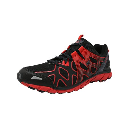 361 Men's 361-Ascent Black / Moonless Night Fiery Red Ankle-High Fabric Running Shoe -