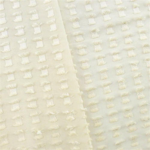 Buttermilk Ivory Clipped Spot Sheer Home Decorating Fabric, Fabric By the Yard