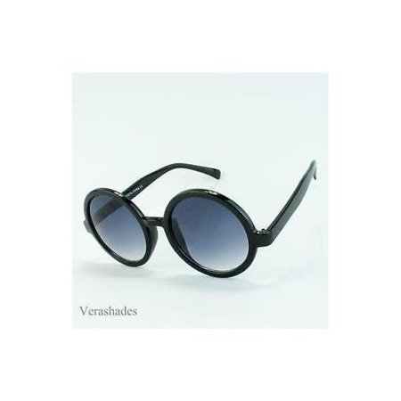 Oversized Large Retro Vintage Style Black Lens Cirlce Round Eye Glasses Black (Different Eye Black Styles)