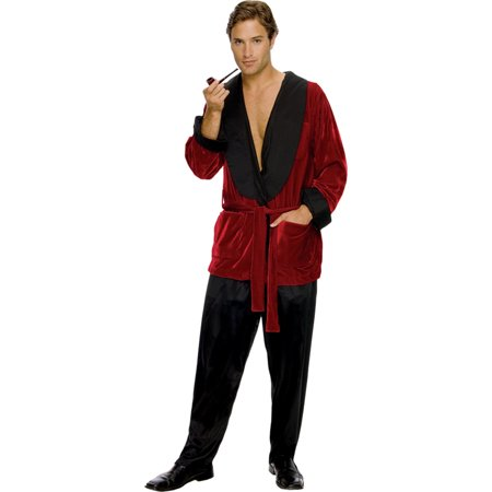 Morris Costumes Mens Playboy Hugh Hefner Red Velvet Pockets Jacket, Style - Hugh Hefner And Playboy Bunny Halloween Costume
