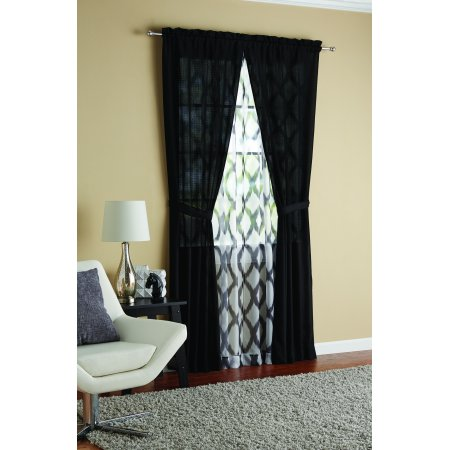 - Mainstays 6 piece Curtain Set, 2 Panels with 2 Sheers and 2 tiebacks