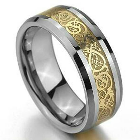 Tungsten Carbide Celtic Knot (8mm Tungsten Carbide Beveled Edge Celtic Knot Dragon over Yellow Inlay Wedding Band Ring For Men Or Ladies)