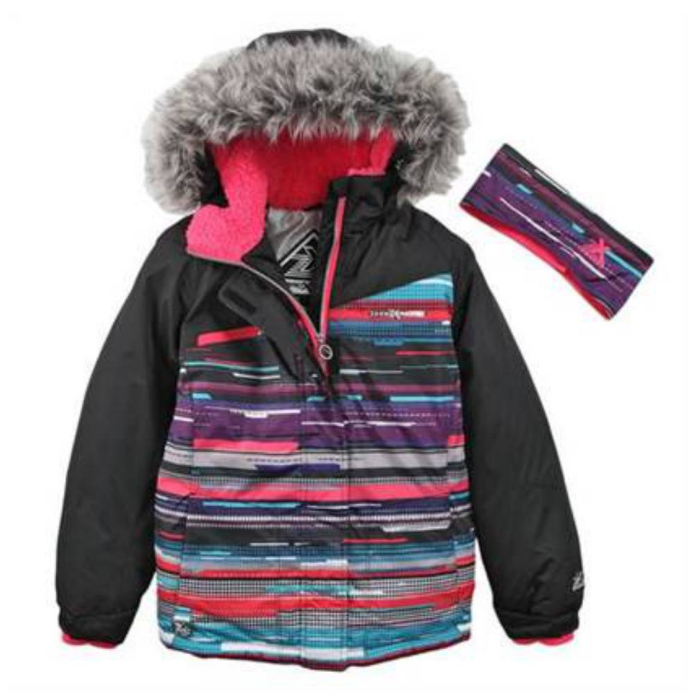 Zero Xposur Girl Multicolor Stripe Coat Puffer Snowboard ...