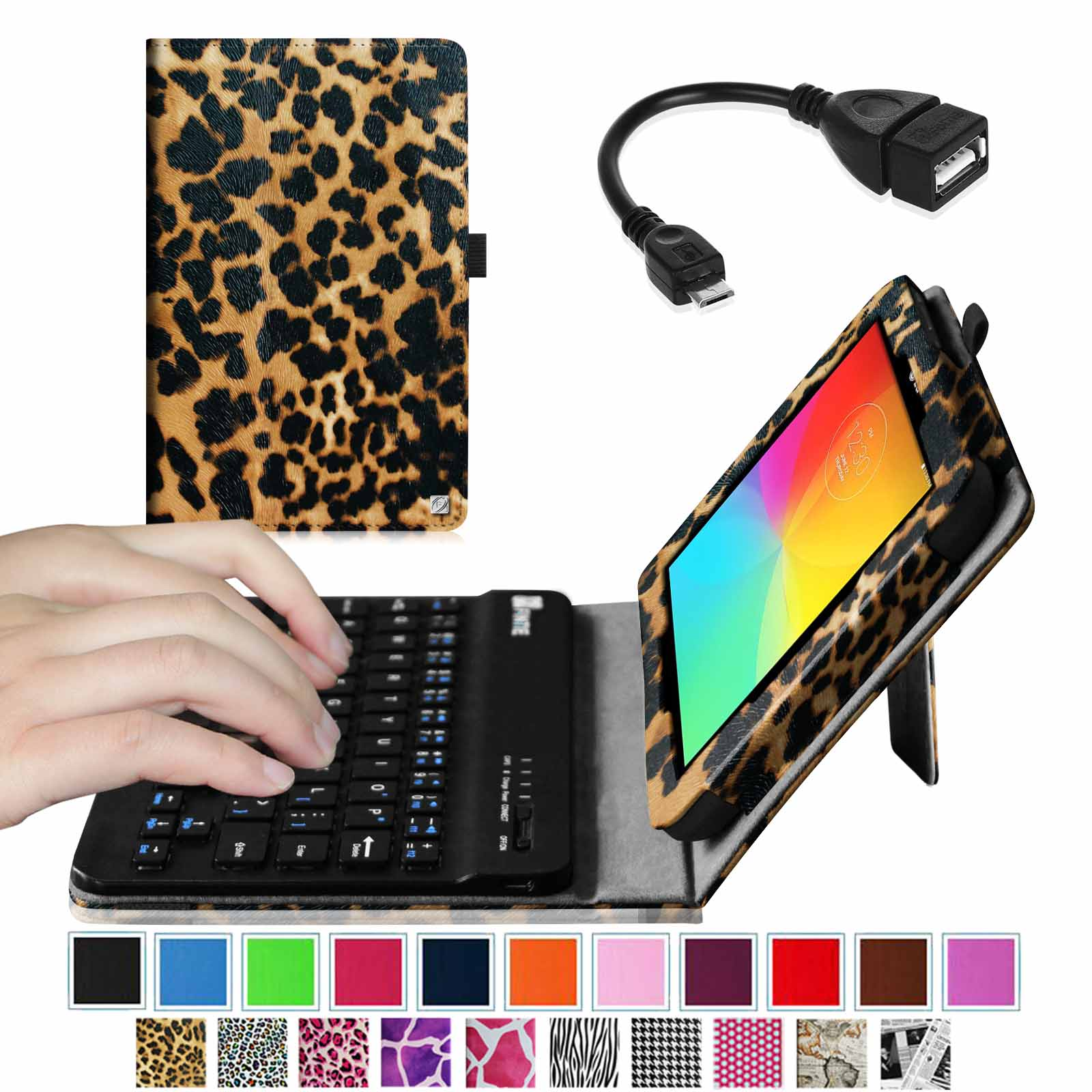 Fintie LG G Pad 7.0 Keyboard Case - Premium Leather Stand Cover w/ Wireless Bluetooth Keyboard + OTG Cable,Leopard Brown