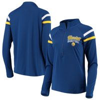 Golden State Warriors 5th & Ocean by New Era Women's Pullover Half-Zip Thumb Holes Jacket - Royal