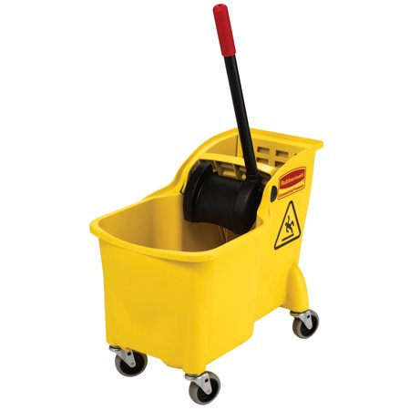 Wringer System - Rubbermaid Commercial Tandem Bucket and Wringer Combo, 31 qt, Yellow