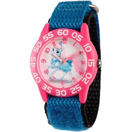 Disney Palace Pet Bibbidy Girls Pink Plastic Time Teacher Watch  Blue Hook And Loop Nylon Strap With Black Backing