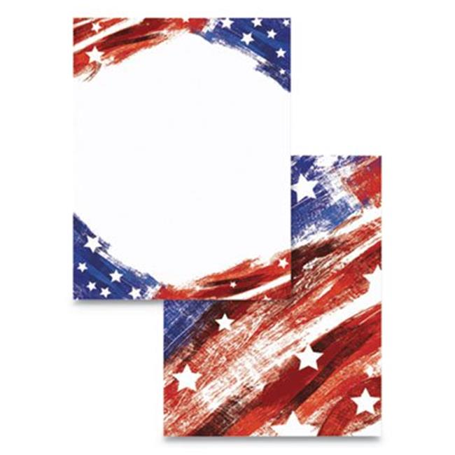 Wausau Papers 91254 Pre-Printed Star & Stripe Paper, Red, White & Blue - Pack of 100