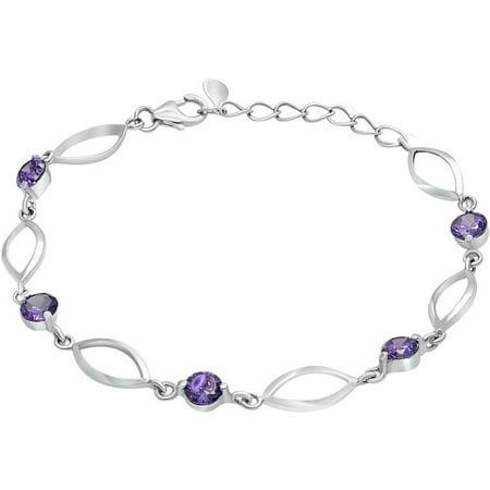 Sterling Silver Jewelry, Purple Round Swarovski Crystal Twisted Open Oval Link Adjustable Bracelet, Designer 925