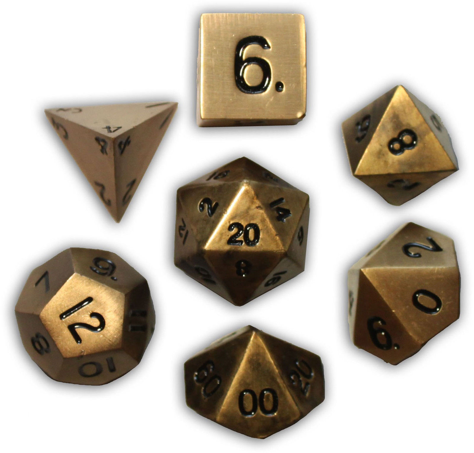 Norse Foundry 7PC RPG Metal Dice Set -Dragon's Gold
