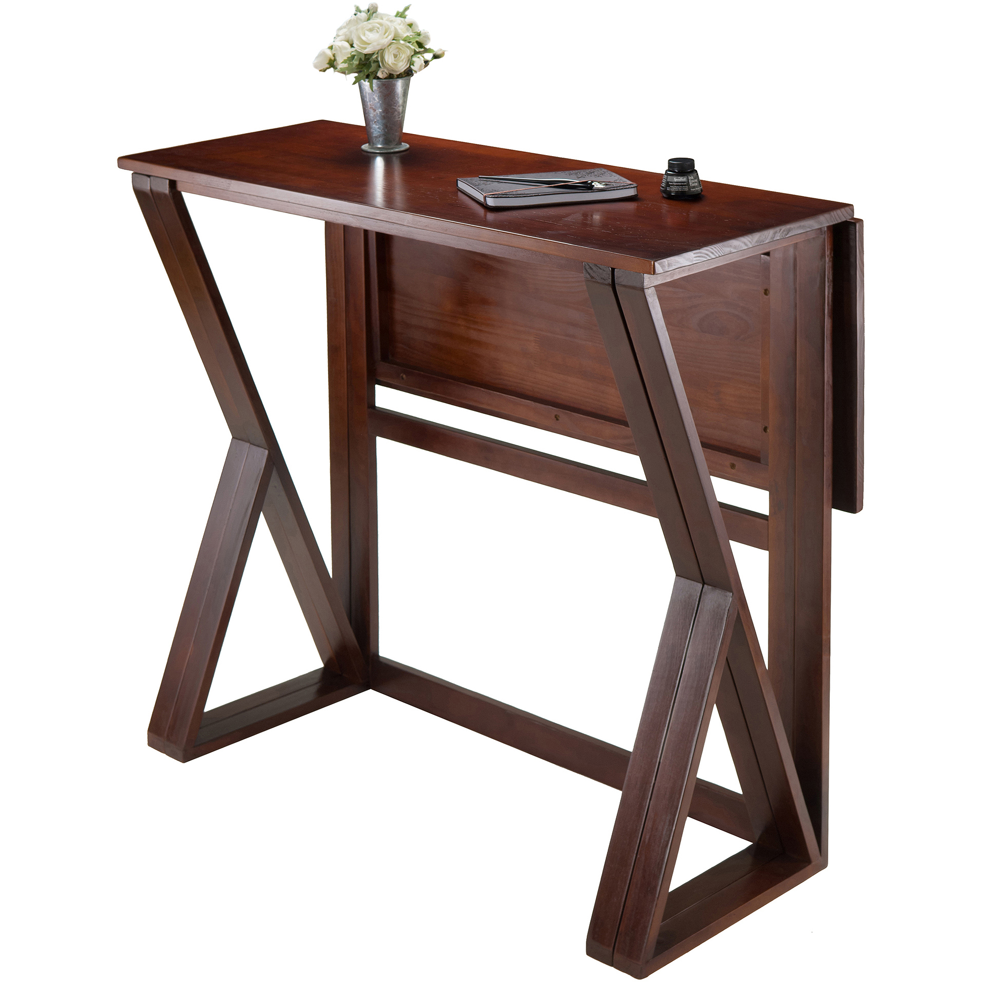 Harrington Drop Leaf High Table Walnut Walmart