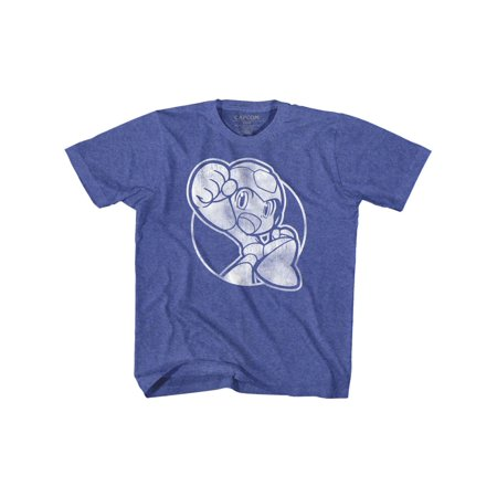 Mega Man Rockman Capcom Video Game Series Fist Pump Vintage Royal Youth T-Shirt (Pump Video)