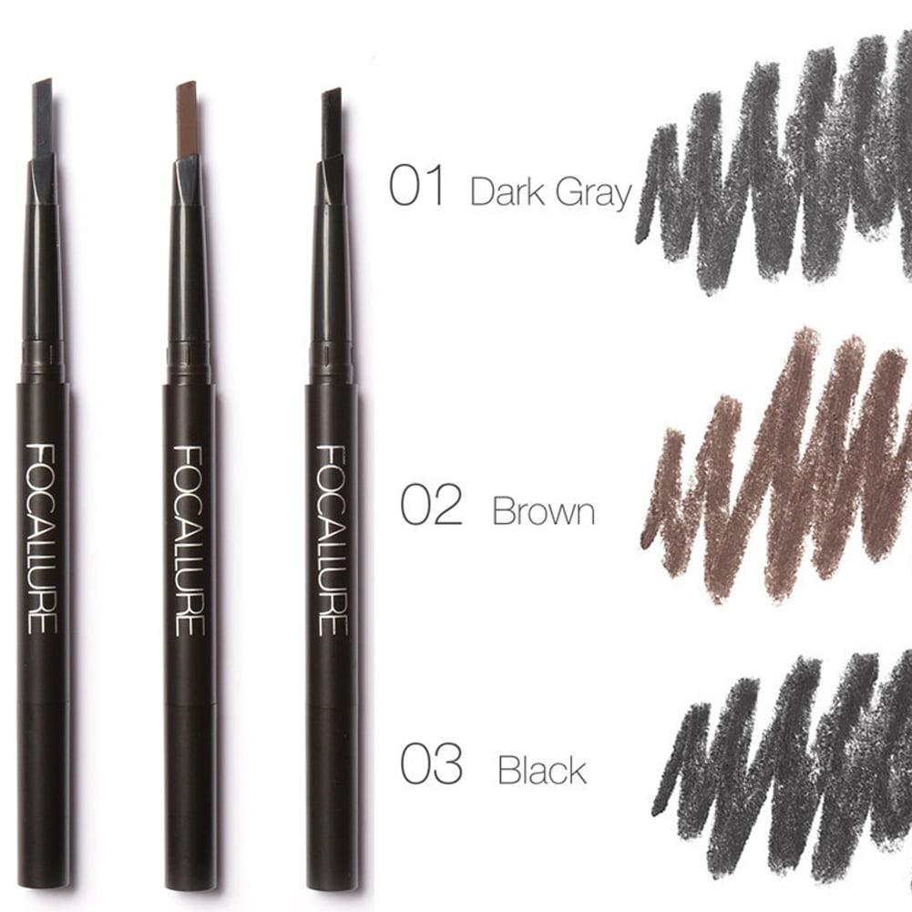 WALFRONT FOCALLURE 3 Colors Eyebrow Pencil Double-Headed Pen Waterproof Makeup Cosmetic Tools           , Eyebrow Pencil, Waterproof Eyebrow Pencil