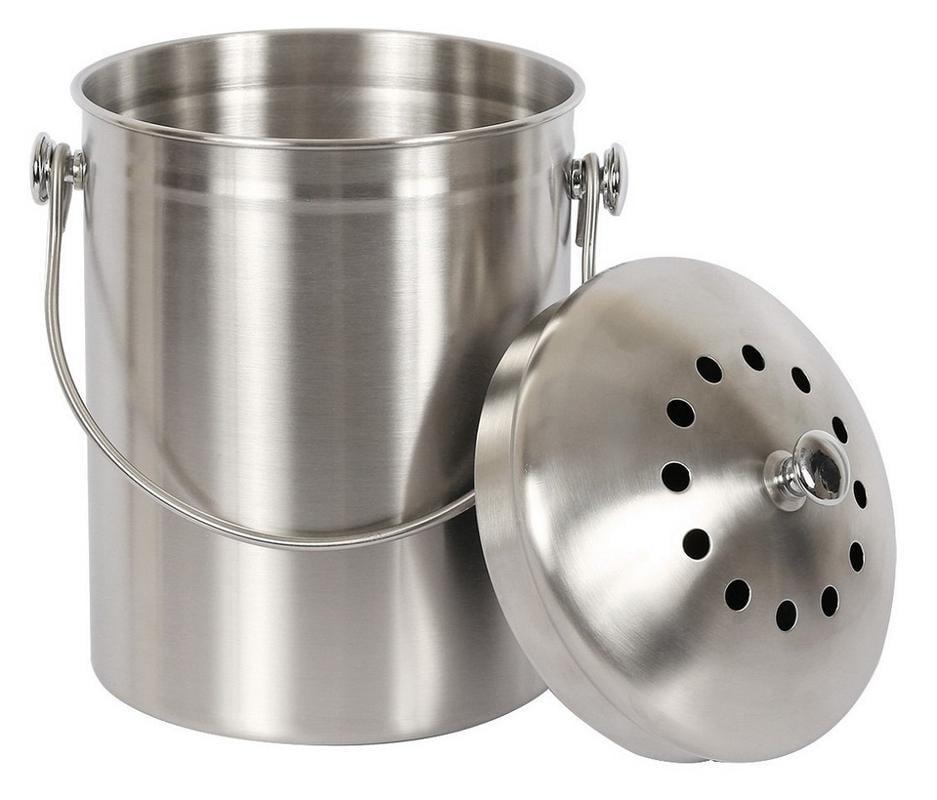 Estilo Stainless Steel Compost Pail, 1 Gallon Compost Bin, 2 Free Odor Absorbing Filters... by Estilo