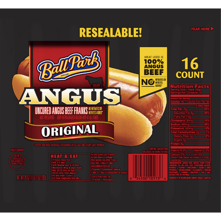 Ball Park Angus Original Beef Hot Dogs, 28 Oz., 16 Count