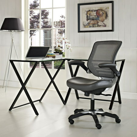 Modway Edge Mesh Back Leatherette Seat Office Chair, Multiple Colors Director Leatherette Office Chair