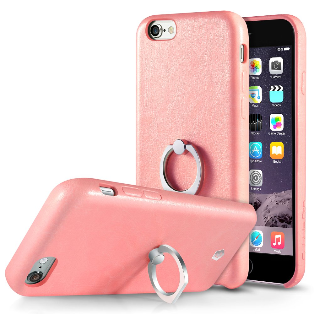 Cobble Pro 360 Rotation Ring Stand Grip Holder Leather Back Case for Apple iPhone 6s Plus / 6 Plus - Pink