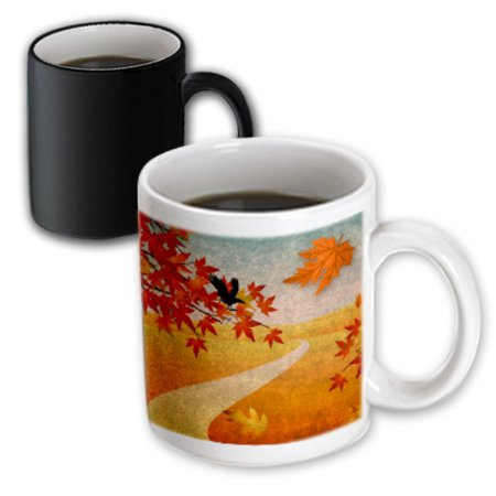 3dRose Autumn Park Path Maple Leaves and Crow, Magic Transforming Mug, 11oz