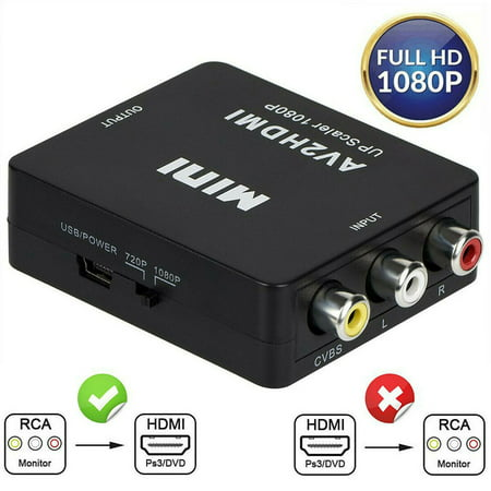 RCA to HDMI converter 1080P Mini RCA Composite CVBS AV to HDMI Video Audio Converter Adapter Supporting PAL/NTSC with USB Charge Cable for PC Laptop Xbox PS4 PS3 TV STB VHS VCR Camera DVD Xbox Component Video Audio