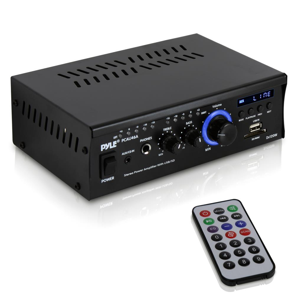 Pyle PCAU46A - Audio Speaker Power Amplifier - Digital Stereo Amp with Headphone Jack, MP3/USB/SD Readers, 2 x 120 Watt