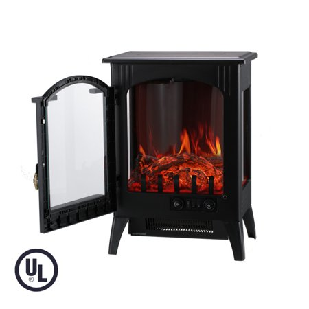 Portable Indoor Home Compact Electric Wood Stove Fireplace Heater, with Thermostat for office and Home 1500W 16.2 W x 10.6 D x 22.8 H, Black ()